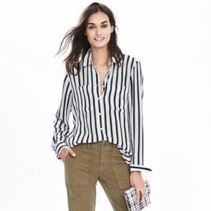 Banana Republic Mixed-Stripe Blouse Black & White